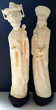 Vintage CHINESE EMPEROR Empress Figure Man Woman Sculpture STATUE