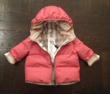 NEW Authentic BURBERRY BABY Pink Infant Girl Winter Coat Jacket - 6 Months