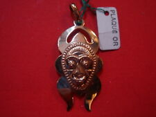 PENDENTIF MASQUE AFRICAIN EN PLAQUE OR  VINTAGE 70 NEUF /OLD/NEW AFRICAN PENDENT