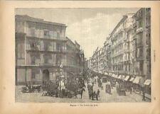 Stampa antica NAPOLI veduta di via Toledo con carrozze 1891 Old antique print