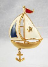 Vintage AVON Enamel Red White Blue Gold Tone Sailboat Brooch Pin Dangling Anchor