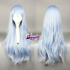 Fancy Collection Light Blue Mixed White 75cm Wavy Anime Hair Party Wig