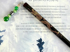 JAPANESE BLACK GOLD DRAGON HAIR CHOPSTICKS STICK JADE CHINESE NEW YEAR PARTY XX