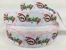 "50 Yards 1"" Disney Christmas Word Grosgrain Ribbon Hair Bows Scrapbooking Lisa"