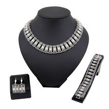 Fashion Women Weddings Jewelry Sets Rhinestone Necklace Earrings Bracelet Set