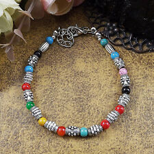 Hot Fashion Tibetan Silver Jewelry Beads Bangle Turquoise Chain Bracelets S41B