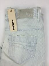 Diesel Women's Fayza Relaxed Boyfirend Jeans 0889U W26L32 White Striped Blue