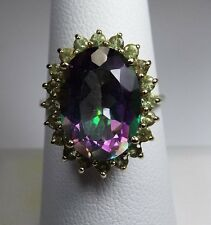 Stunning Estate Mystic Topaz and Peridots Ring,10 k gold, size 7.5,  7.25 ctw