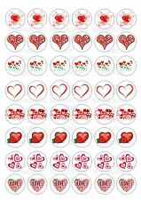 48 Hearts Valentines Wafer / Rice Paper Topper For Cupcake Edible Fairy Cake
