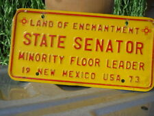 1973 New Mexico State Senator Minority Floor Leader Car Truck  License Plate