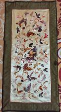 "Antique Chinese Hand Embroidery Wall Hanging Scenery Panel 13"" By 26"""