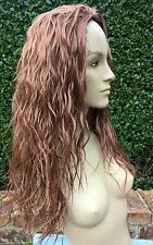 ginger copper red wavy curly frizzy puffy 3/4 half head long hair wig fancydress