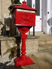 Post box sur support en aluminium boîte postes rouge/deco post box mail box