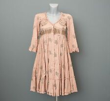ODD MOLLY 698 Beige Embroidered Floral Knee Length Dress Size 0