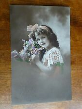 R154 Lovely Young Girl Greetings Postcard c1913 Processed in Prussia