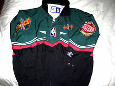 RARE SEATTLE SUPERSONICS ORIG SPACE NEEDLE LOGO MULTI PATCH JERSEY JACKET-NEW-XL