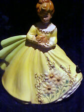 """Josef Originals Japan """"I Love"""" Series Lady In Yellow Gown Carrying Bunny Rabbit"""