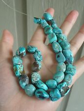 "All Nature 16.5"" Nevada Pilot Mountain TURQUOISE 13-15mm x 12mm Beads Strand 81g"