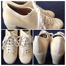 Barratts Ivory Lace Up Canvas Shoes Size 6