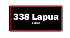 338 Lapua ammo label can vinyl sticker decal bumper gun rifle bullet glock ar15