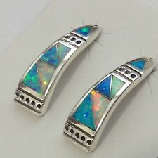 Sterling Silver Handmade Inlay Opal Stone Half Hoop Post Earrings