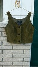 Suede Vest sz.4 Finity Studio Olive button front country western ranch chic New