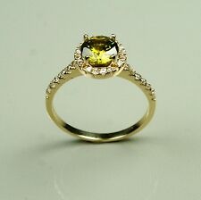 14k solid y/gold 1.10 carat natural Peridot nice wedding ring size 7, 2.5gram