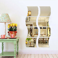 6PCS Removable Wave Home Acrylic Wall Mirror Sticker Art Vinyl Mural Decor Decal