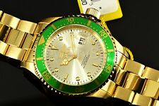 Invicta 43mm Pro Diver 18kt Yellow Gold Plated SS Sunray Dial Bracelet Watch New