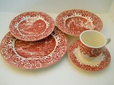 STAFFORDSHIRE ENGRAVINGS 20PC 17th Century Inn RED TRANSFERWARE 4 Place Settings