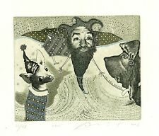 Jester & Dog, Surrealistic Ex libris Etching by Juri Jakovenko, Belarus