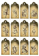 Vintage inspired Alice in Wonderland scrapbooking tags paper crafts set of 12