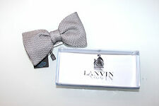 Lanvin Luxury classic Silk bow Tie GREY DIAMOND POLKA DOT