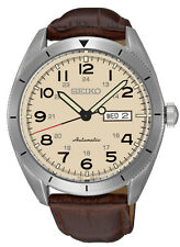 New Seiko SRP713 Automatic Stainless Steel Day Date Leather Strap Men's Watch