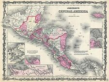 GEOGRAPHY MAP ILLUSTRATED ANTIQUE JOHNSON CENTRAL AMERICA POSTER PRINT BB4334A