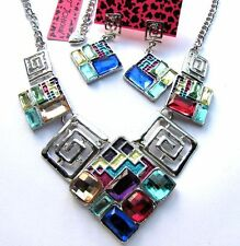 Betsey Johnson multicolor glass geometric patterns Necklace Earring set#909T