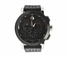 Movado Museum 0606545 Chronograph Black Dial Rubber Band Sport Mens Watch