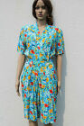 Vintage 1990s Tropical Floral Print Playsuit All-in-One Grunge Blue White 10-12