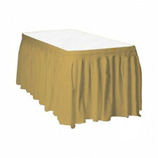 "2 Plastic Table Skirts 13' X 29"" Streches-19' - Gold"