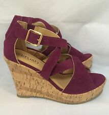 purple wedges Sandals Strappy Berry Summer Size 4