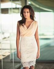 BNWT LIPSY MICHELLE KEEGAN NUDE CHIFFON CROSSOVER WRAP LACE SKIRT DRESS SIZE 12