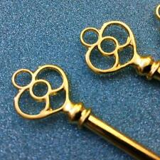 25 Large Gold Bulk Antique Vtg Old Look skeleton key Wedding steampunk charm BC1