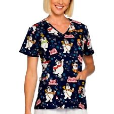 FROSTY THE SNOWMAN Sz L Nurse SCRUB Top Shirt WOMENS Christmas ~ NWT