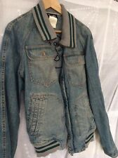 D&G Dolce and Gabbana Blue Denim Mens Jacket Bomber Knit rib logo embroidery L