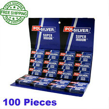 POLSILVER SUPER IRIDIUM 100 DOUBLE EDGE SAFETY BLADES FREE PRIORITY POSTAGE