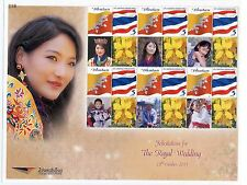 THAILAND STAMP 2011 BHUTAN ROYAL WEDDING PERSONALIZED STAMP NO. 5 SHEET