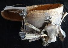 Shaman Bag Hand Woven With Skull And Shell art  Dayak Kalimantan Borneo Tribal