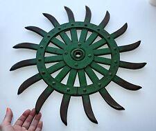 """John Deere 17-3/4"""" Steel Spike Wheel Rotary Hoe Industrial Steampunk Garden Art"""