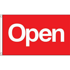 Open (Red) Flag 5Ft X 3Ft Shop Pub Store Banner With 2 Metal Eyelets New