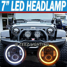 "7""Round 90W LED Halo Ring Angel Eye Headlight Kit Projector Headlamp Assembly"